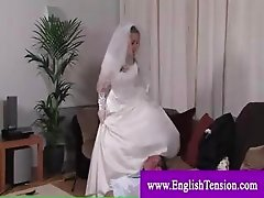 Dominant bride taking advantage of groom