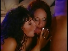 Two brunette chicks fuck one guy