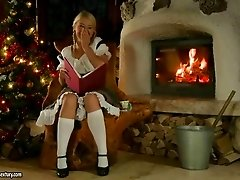 Cute blonde has anal sex with horny Santa