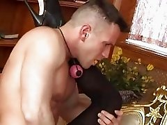 Sexy ass blonde in black stockigns dominates over horny hunk