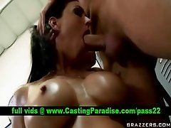 Jessica Jaymes busty brunette gagging and titsjob