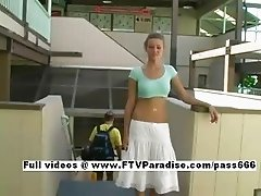 Ingenious Carli adorable blonde babe public flashing tits and talking