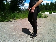 flashing cock in leggings