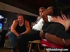 Beautiful busty ebony MILF gets pussy