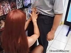 Horny red head slut enjoys in public part6
