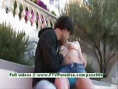 Gabby sexy brunette teenage kissing and touching with a horny guy