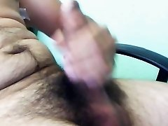 STROKING MY BIG HAIRY UNCUT DICK