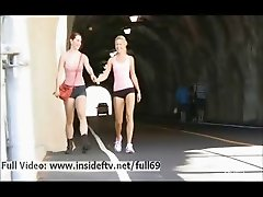 Melody and Lena _ Blonde and redhead babe flashing her boobs and pussy in public