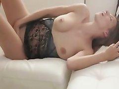 brunette testing black dildo