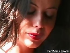 Hot sexy nasty brunette babe smokes part4