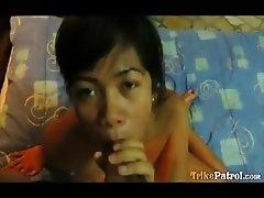 Hardcore Filipina spinner sucks and fucks cum from horny guy