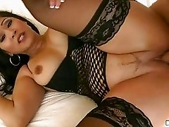 Big ass asian brunette in stockings gets her ass hole drilled