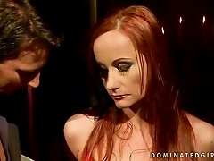 Busty redhead getting bondaged and fucked