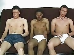Very  hot gay studs in wild interracial threesome