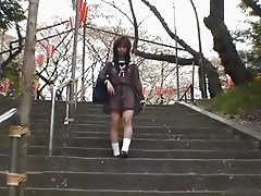 Mikan Cute Asian student flashes her part4