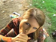 Outdoor oral-sex stimulation and fucking