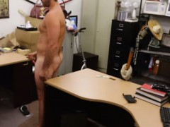 Straight pawnshop customer jerking off