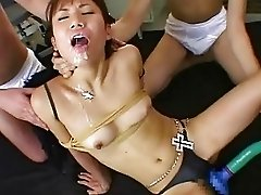 Slutty Asian hoe got double fucked and cum showered