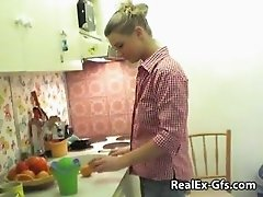 Hot Blonde Girlfriend Filmed in The Kitchen