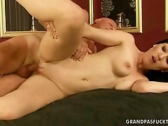 Teen enjoying sex with grandpa