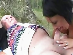 Horny granny sharing a old Dick with teen Hottie