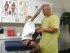 Slutty blonde nurse gets banged by he tattooed patient