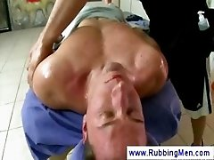 Gay masseur wanks a straight mans dick