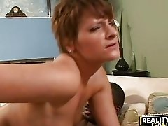 Short haired babe rides extremely large black meat rod