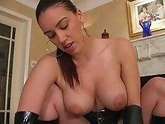 Busty latex girl dominates cock