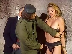 Two Horny Satyrs Undress Young Lady In Black Lingerie