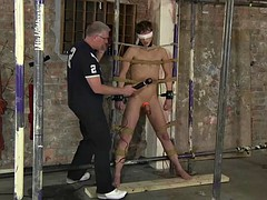 Gay sex slave receives his punishment from his horny master