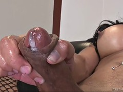bossy tranny with fat ass jo garcia strokes her fat dick