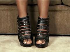 Big fat black ugly slut gets to fuck and footjob cum on feet