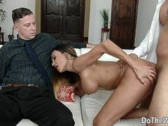 Pounding Busty Wife Claudia Valentine Right Next to Her Cuckold Hubby