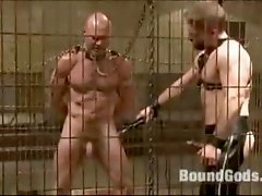 Tied up guy gets fucked hard