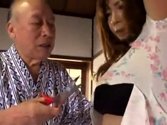 Stacked Asian wife has an older man taking care of her needs