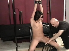 Slut gets her bawdy cleft eaten out while being belted