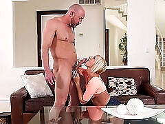 Cock eater makes sure his dick goes down her throat