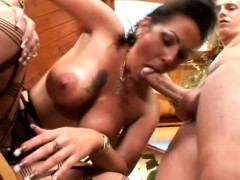 Sensuous brunette milf with big breasts shows off her oral abilities