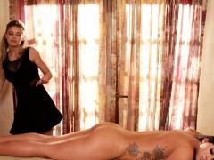 MILF dyke pussylicked during erotic rubdown