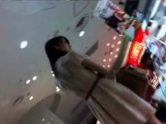 Sweet Japanese girl in tight white panties upskirt in public