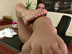 Eve angel bored, horny, and stuck in the office