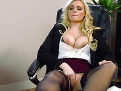 Busty Katy Jayne gets her pussy licked under the t
