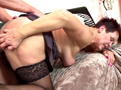 Dirty granny to suck and to fuck young boy