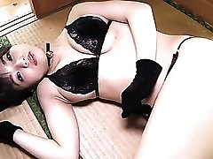 Black lingerie is breathtaking on a buxom Japanese solo girl