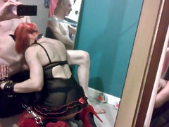 masked amateur mirror blowjob