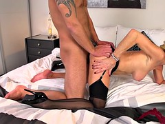 Naughty blonde MILF plowed with a hard shaft