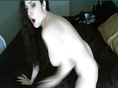 Busty Camgirl Insert Huge Dildo on Her Tight Pink Pussy