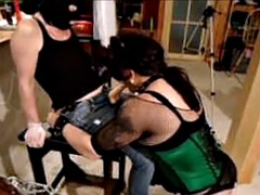 Havin fun with dominatrix role-playing and first pegged