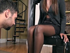 Cute girl in pantyhose smell of worship